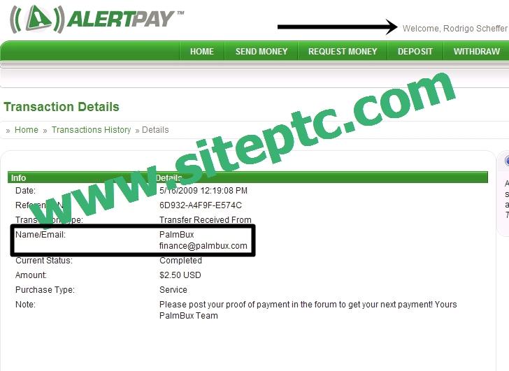 Pagamento Palmbux $2,50 via Alertpay