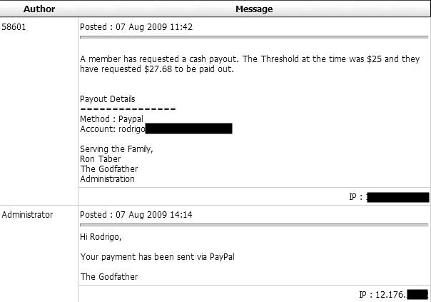 Tempo de pagamento Godfather